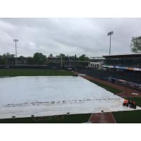 The tarp on SRP Park, home of the August GreenJackets
