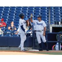 Isiah Gilliam and Kevin Mahoney of the Tampa Tarpons exchange a high five